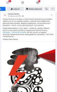 Camera Femina - post na facebooku i kolejna deklaracja wsparcia Strajku Kobiet